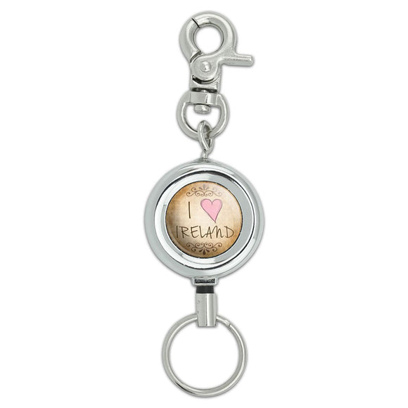I Heart Love Ireland Vintage Lanyard Belt ID Badge Key Retractable Reel Holder