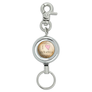 I Heart Love South Africa Vintage Lanyard ID Badge Key Retractable Reel Holder