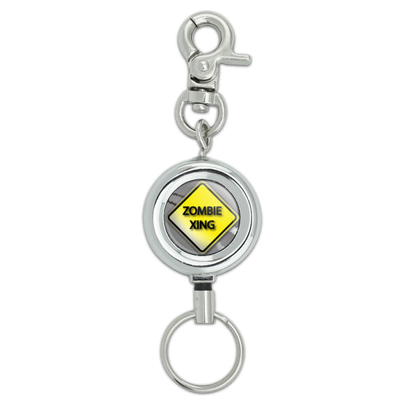 Zombie Xing Crossing Yellow Grey Caution Sign ID Badge Key Retractable Holder