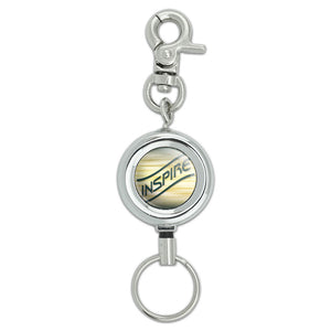 Inspire Green Gold Waves Clouds Lanyard ID Badge Key Retractable Reel Holder