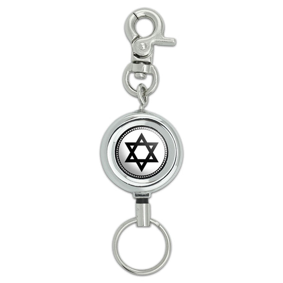Star of David Lanyard Belt ID Badge Key Retractable Reel Holder