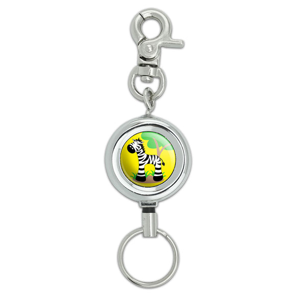 Zebra And Tree Cute Lanyard Belt ID Badge Key Retractable Reel Holder