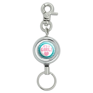 It's A Girl Baby Lanyard Belt ID Badge Key Retractable Reel Holder