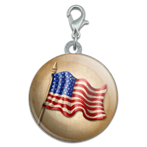Vintage American Flag Stainless Steel Pet Dog ID Tag
