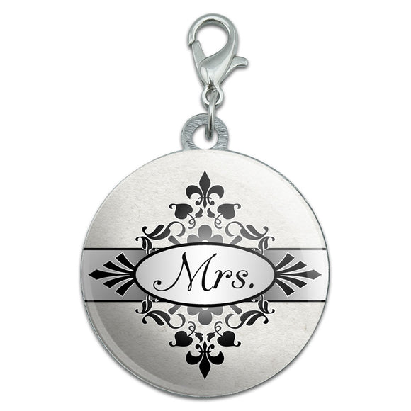 Mrs on Floral Pattern Bride Woman Hers Wife Stainless Steel Pet Dog ID Tag
