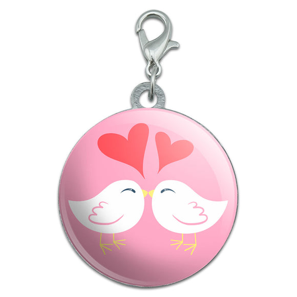 Sweet Kissing Birds in Love Pink Stainless Steel Pet Dog ID Tag