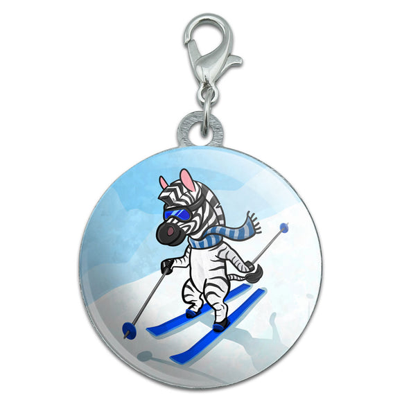 Zebra Skiing Stainless Steel Pet Dog ID Tag