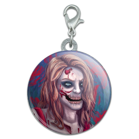 Zombified Girl Stainless Steel Pet Dog ID Tag