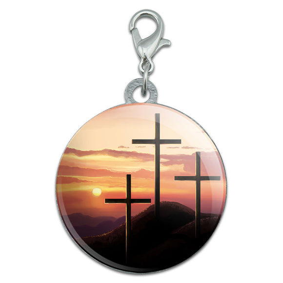 Three Crosses on Hill Stainless Steel Pet Dog ID Tag