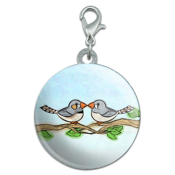 Zebra Finches Kissing Stainless Steel Pet Dog ID Tag