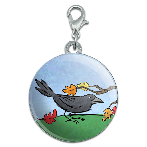 Crow in Autumn Stainless Steel Pet Dog ID Tag