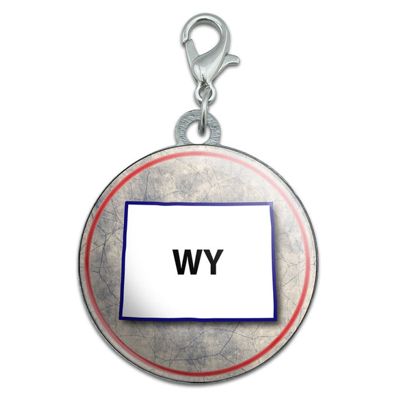 Wyoming WY State Outline on Faded Blue Stainless Steel Pet Dog ID Tag