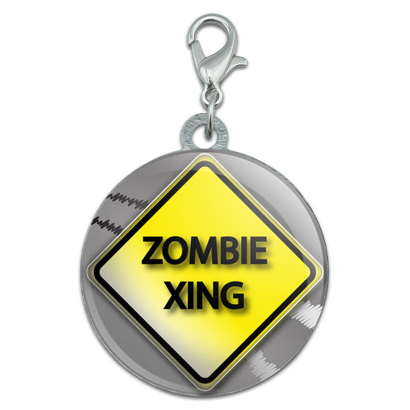 Zombie Xing Crossing Stylized Yellow Grey Caution Sign Pet Dog ID Tag