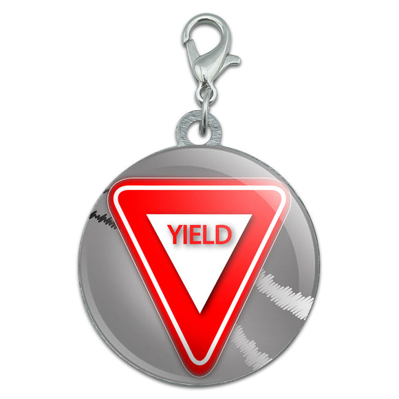 Yield Stylized Red Grey Triangular Sign Stainless Steel Pet Dog ID Tag