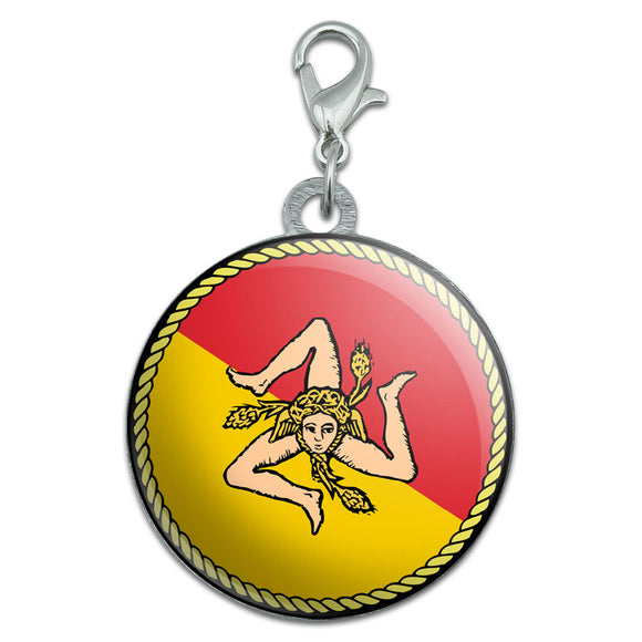 Flag of Sicily Stainless Steel Pet Dog ID Tag