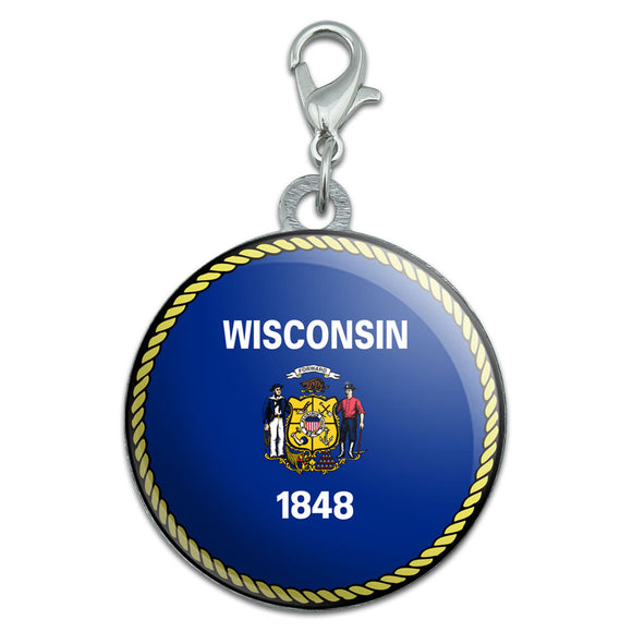 Wisconsin State Flag Stainless Steel Pet Dog ID Tag