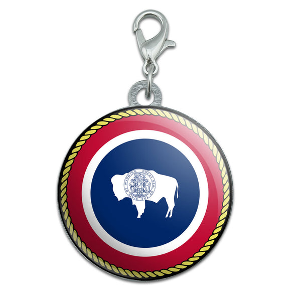 Wyoming State Flag Stainless Steel Pet Dog ID Tag