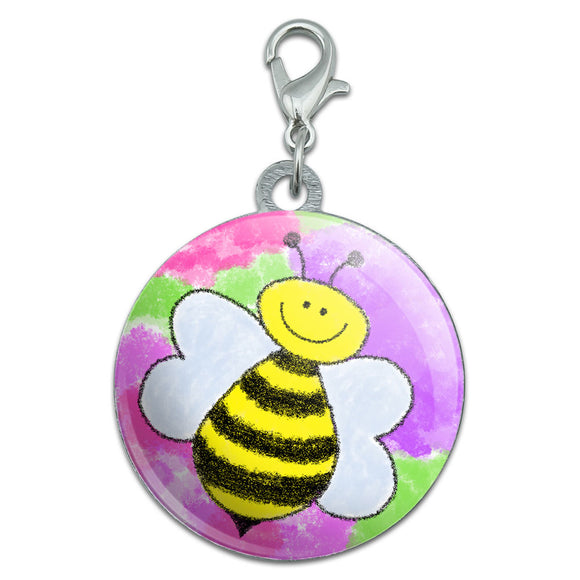 Busy As A Bee Watercolor Stainless Steel Pet Dog ID Tag