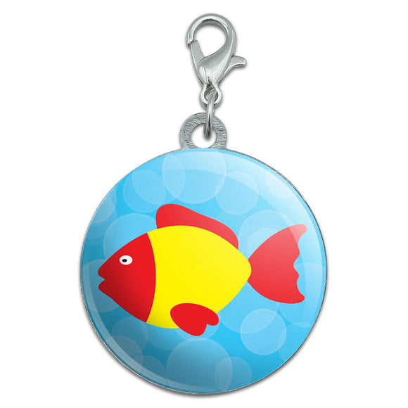 Tropical Fish Red Yellow Stainless Steel Pet Dog ID Tag