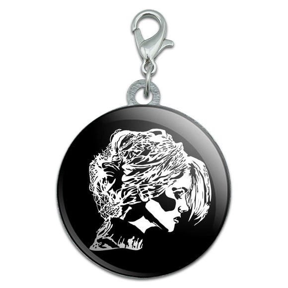 Woman Profile Chignon Hair Stainless Steel Pet Dog ID Tag