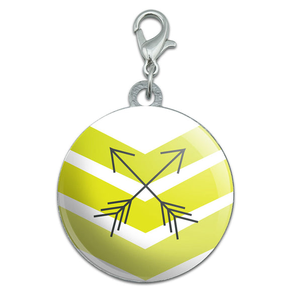 Yellow Chevrons & Arrows Stainless Steel Pet Dog ID Tag