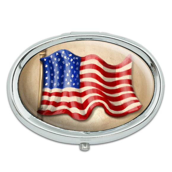 Vintage American Flag Metal Oval Pill Case Box