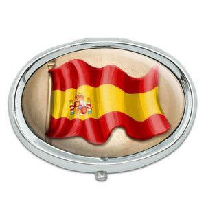Vintage Spanish Flag Spain Metal Oval Pill Case Box