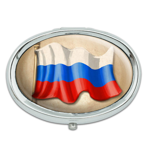 Vintage Russian Flag - Russia Metal Oval Pill Case Box
