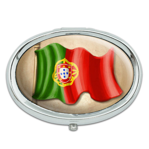 Vintage Portugal Flag - Portuguese Metal Oval Pill Case Box