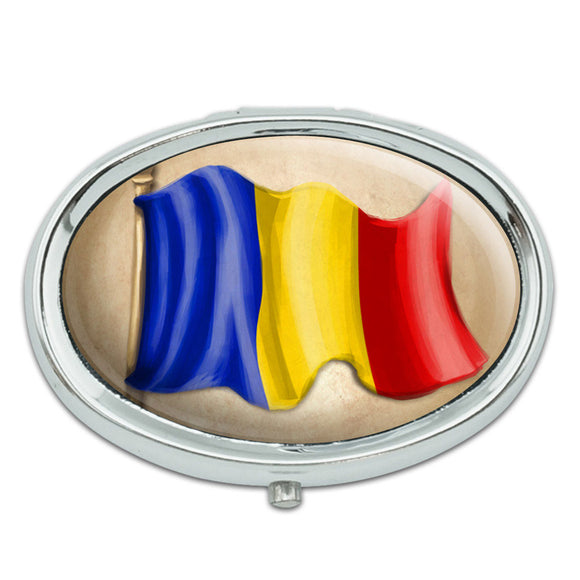 Vintage Romanian Flag - Romania Metal Oval Pill Case Box