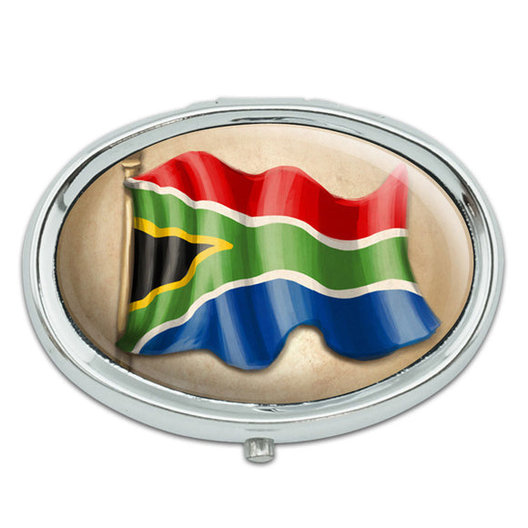 Vintage South African Flag - South Africa Metal Oval Pill Case Box