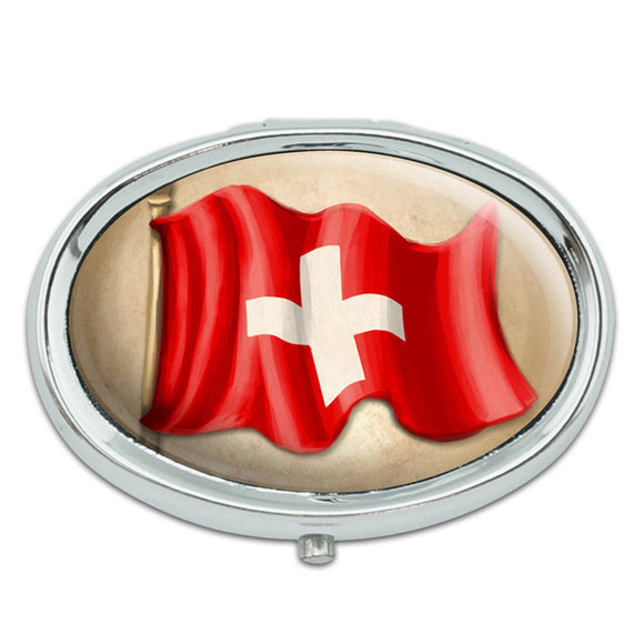 Vintage Swiss Flag - Switzerland Metal Oval Pill Case Box