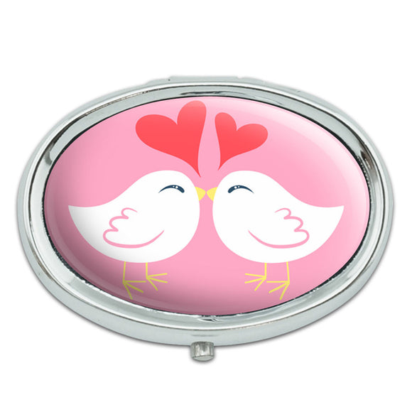 Sweet Kissing Birds in Love Pink Metal Oval Pill Case Box