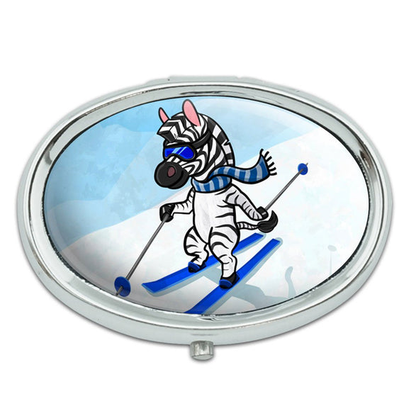 Zebra Skiing Metal Oval Pill Case Box
