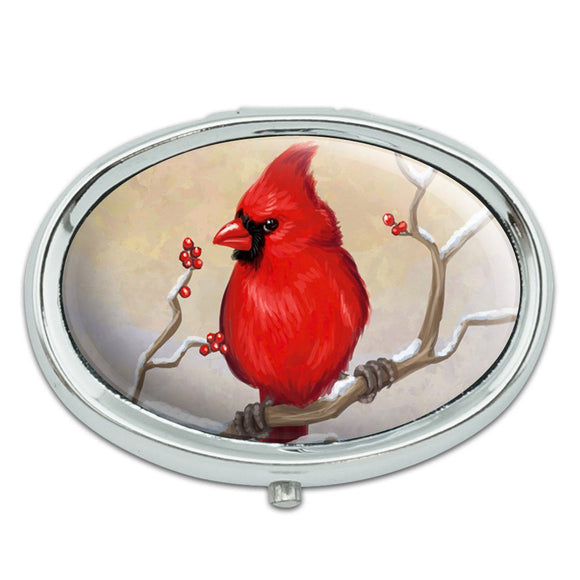 Cardinal in Winter Metal Oval Pill Case Box