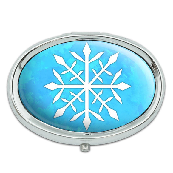Snowflake Metal Oval Pill Case Box