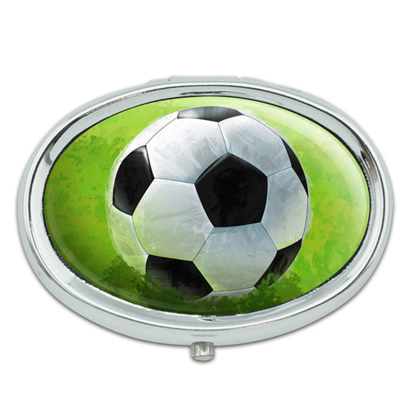 Soccer Ball Metal Oval Pill Case Box