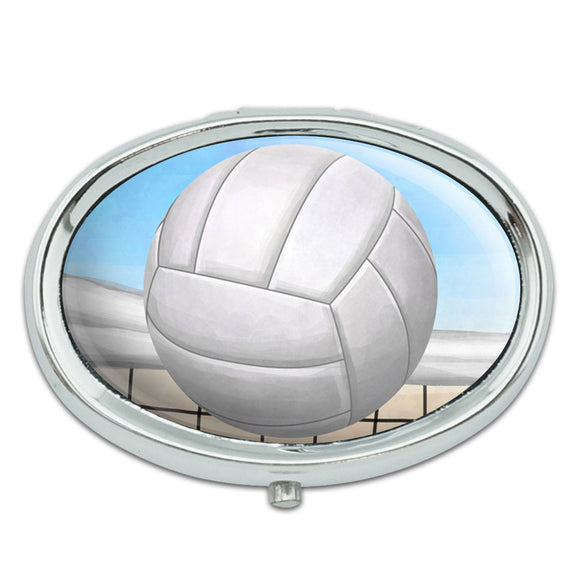 Sporty Volleyball Metal Oval Pill Case Box