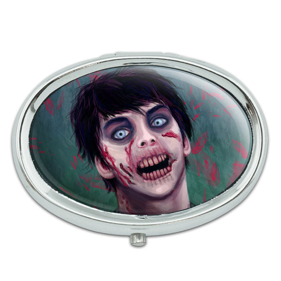 Zombified Boy Metal Oval Pill Case Box