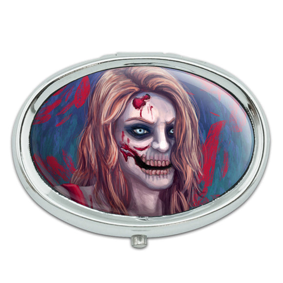 Zombified Girl Metal Oval Pill Case Box