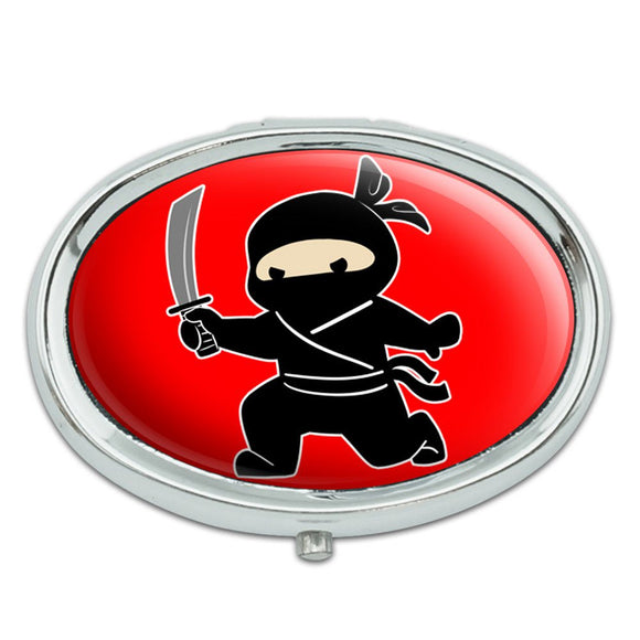 Sneaky Ninja Attacks Metal Oval Pill Case Box