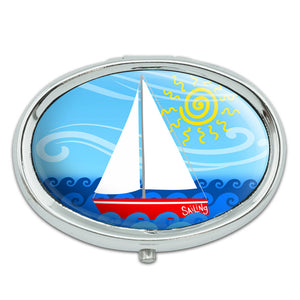 Sailboat on the Lake Metal Oval Pill Case Box
