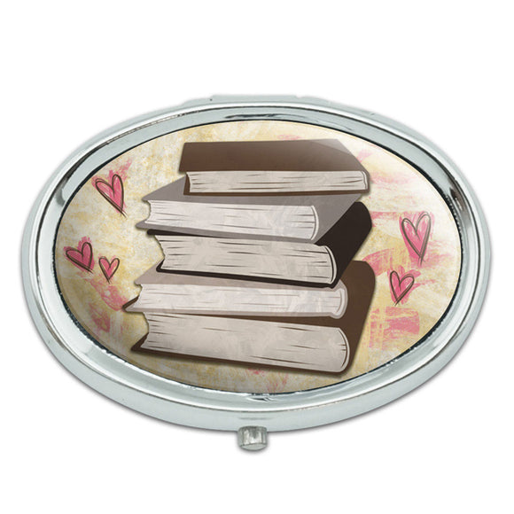 Stack of Books Metal Oval Pill Case Box