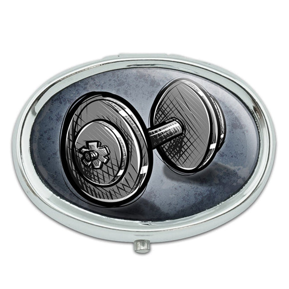 Weight Lifting Dumbbells Metal Oval Pill Case Box