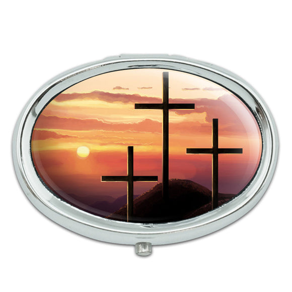 Three Crosses on Hill Metal Oval Pill Case Box