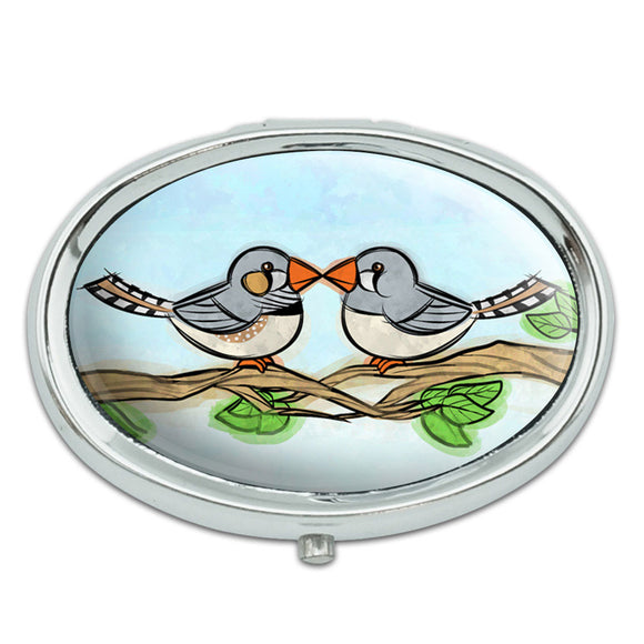 Zebra Finches Kissing Metal Oval Pill Case Box