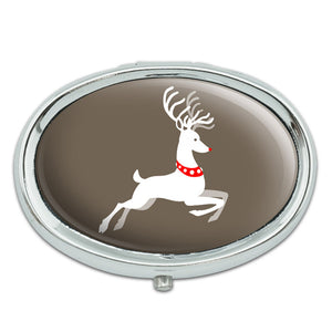 Prancing Reindeer Christmas Metal Oval Pill Case Box
