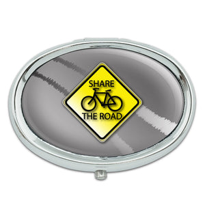 Share The Road Bicycle Stylized Yellow Grey Sign Metal Oval Pill Case Box
