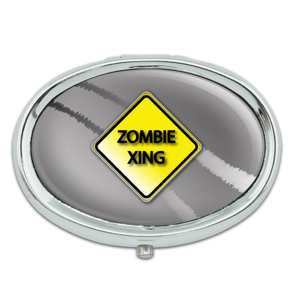 Zombie Xing Crossing Stylized Yellow Grey Caution Sign Metal Oval Pill Case Box