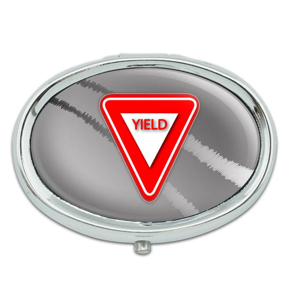 Yield Stylized Red Grey Triangular Sign Metal Oval Pill Case Box